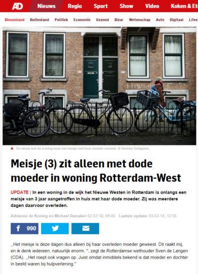 Meisje (3) zit alleen met dode moeder in woning Rotterdam-West