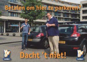 De goede oude tijd: de VVD in actie tegen betaald parkeren (bron: Sleutelstad)